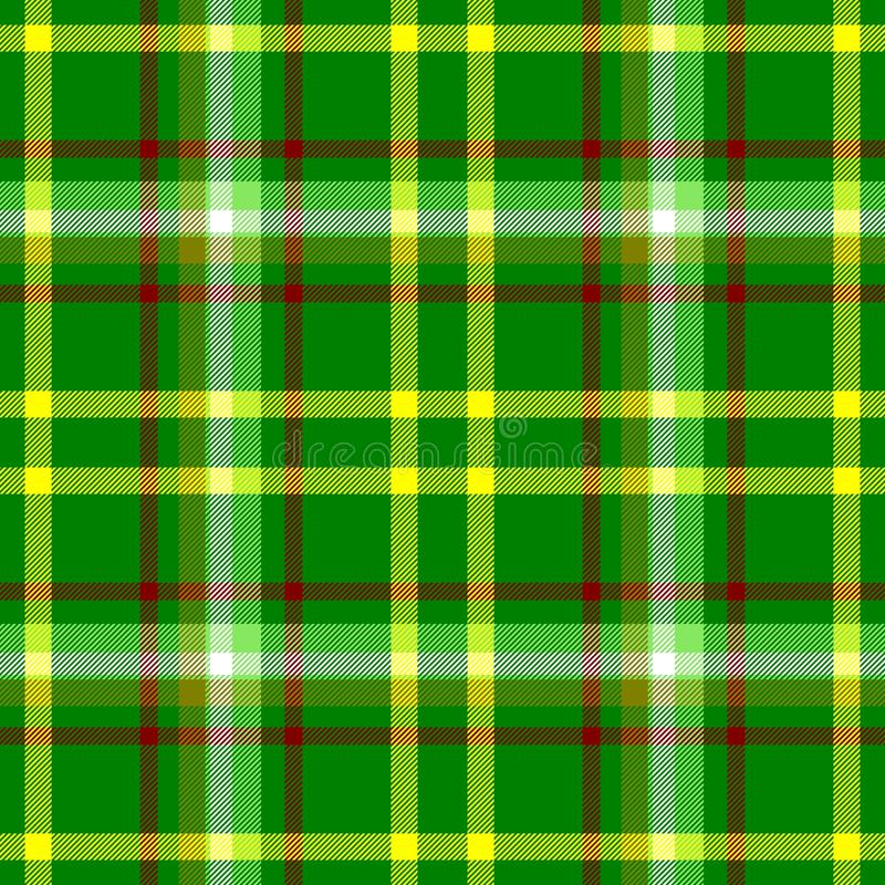 Check diamond tartan plaid fabric seamless pattern background - vibrant green, yellow, red and white color royalty free illustration