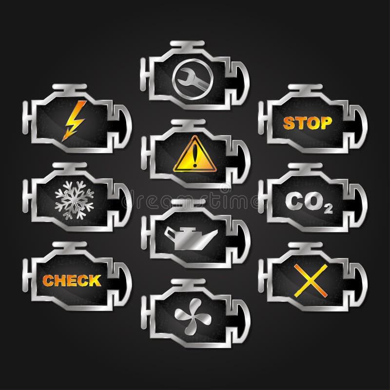 Check engine auto icon set. Engine check auto warning indicators diagnostics icon set royalty free illustration