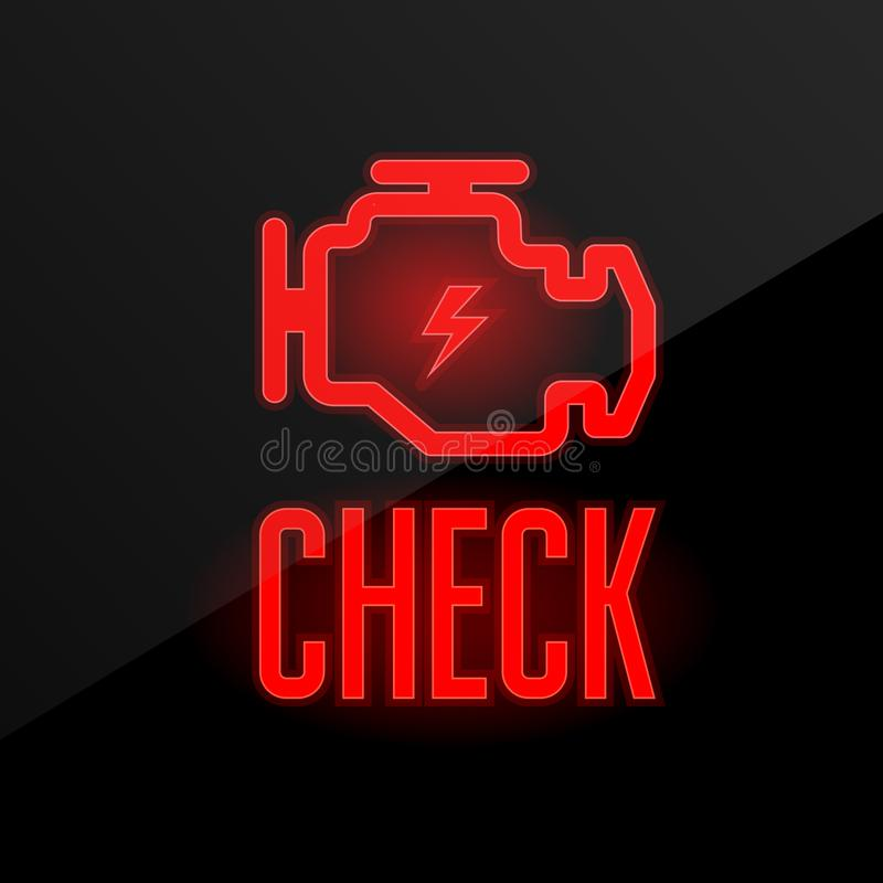 Check engine icon - blinking indicator on dashboard. Breakdown alert vector illustration