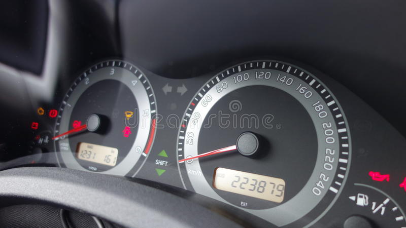 Check engine icon, Odometer mileage dashboard instrument cluster, fuel level, shift gear indicator, speedometer and tachometer stock photos