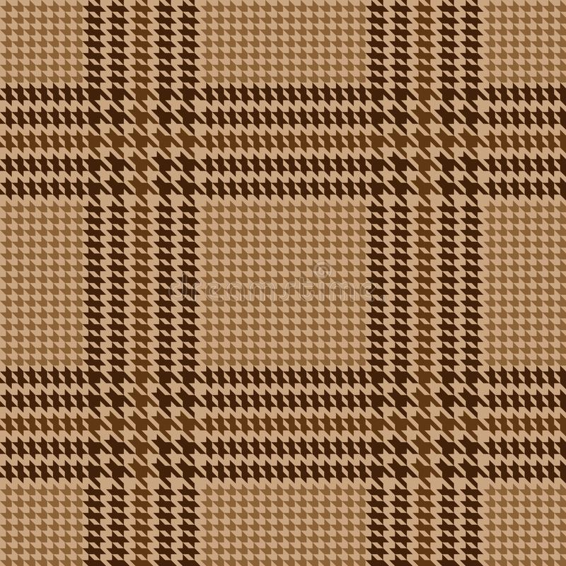 Check Fashion Seamless Pattern. Check fashion classic tweed beige and brown seamless pattern with fabric imitation in beige background for textile prints royalty free illustration