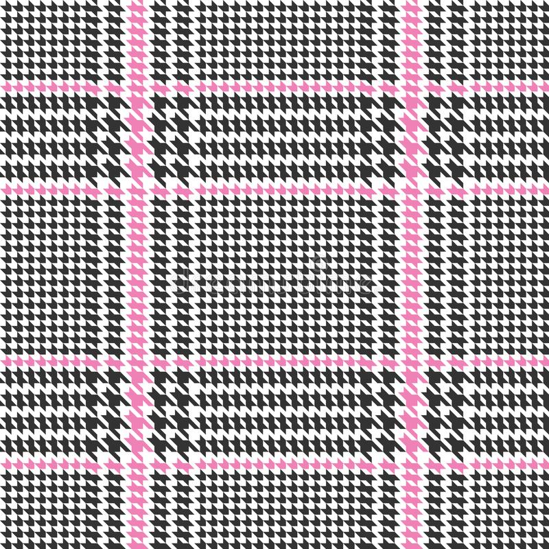 Check Fashion Seamless Pattern. Check fashion tweed black and pink seamless pattern with fabric imitation in white background for textile prints, wallpaper royalty free illustration