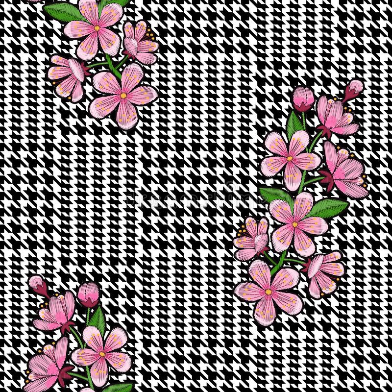 Check Fashion Seamless Pattern with Embroidery Cherry stock illustration