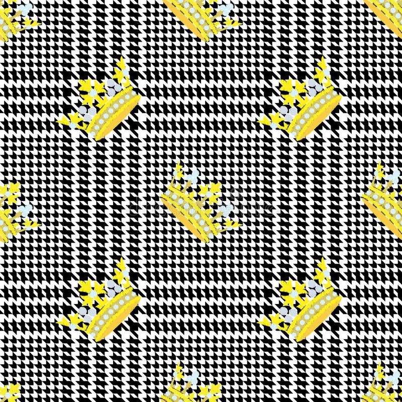 Check Fashion Seamless Pattern with Embroidery Crowns. Check fashion tweed black seamless pattern with embroidery crowns on white background for textile prints vector illustration