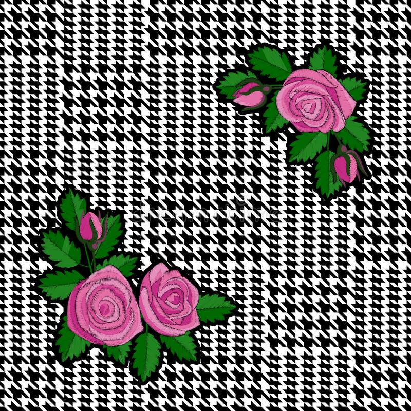 Check Fashion Seamless Pattern with Embroidery Roses. Check fashion tweed black seamless pattern with embroidery roses patch on white background for textile royalty free illustration