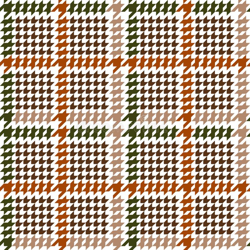 Check Fashion Seamless Pattern with Hounds Tooth. Check fashion tweed orange, green and beige seamless pattern. Repeat background with houndstooth for fashion vector illustration