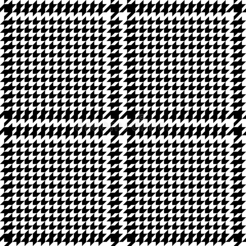 Check Fashion Seamless Pattern with Hounds Tooth. Check fashion tweed white and black seamless pattern. Repeat background with houndstooth for fashion textile royalty free illustration