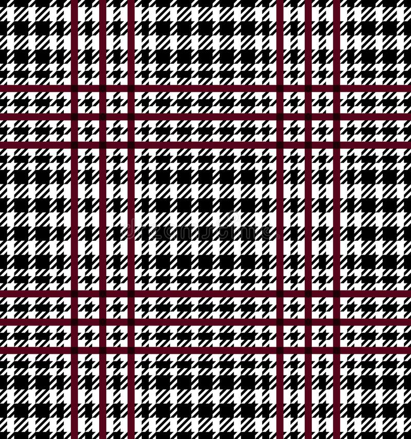Check Fashion Seamless Pattern. Check fashion tweed burgundy, white and black seamless pattern for fashion textile prints, wallpaper, wrapping, fabric imitation royalty free illustration