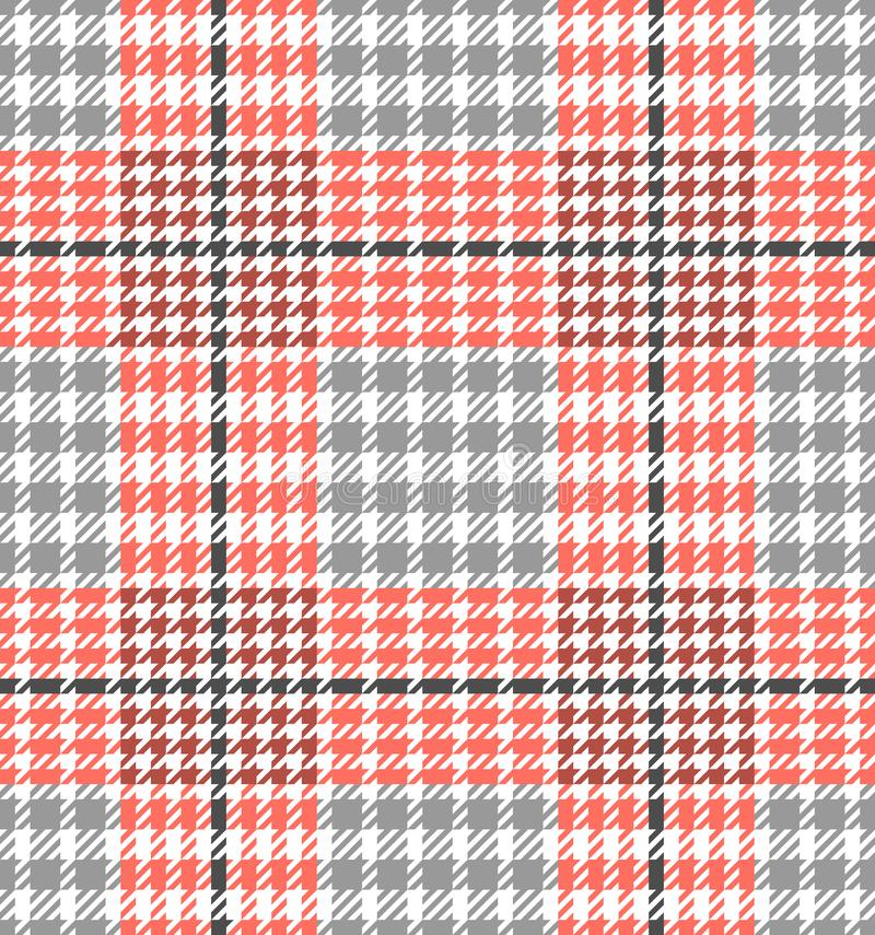Check Fashion Seamless Pattern. Vector Repeat Background. Check fashion tweed white, coral and gray seamless pattern for fashion textile prints, wallpaper stock illustration