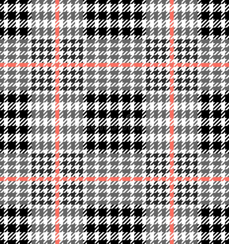 Check Fashion Seamless Pattern. Vector Repeat Background. Check fashion tweed white, gray, coral and black seamless pattern for fashion textile prints stock illustration