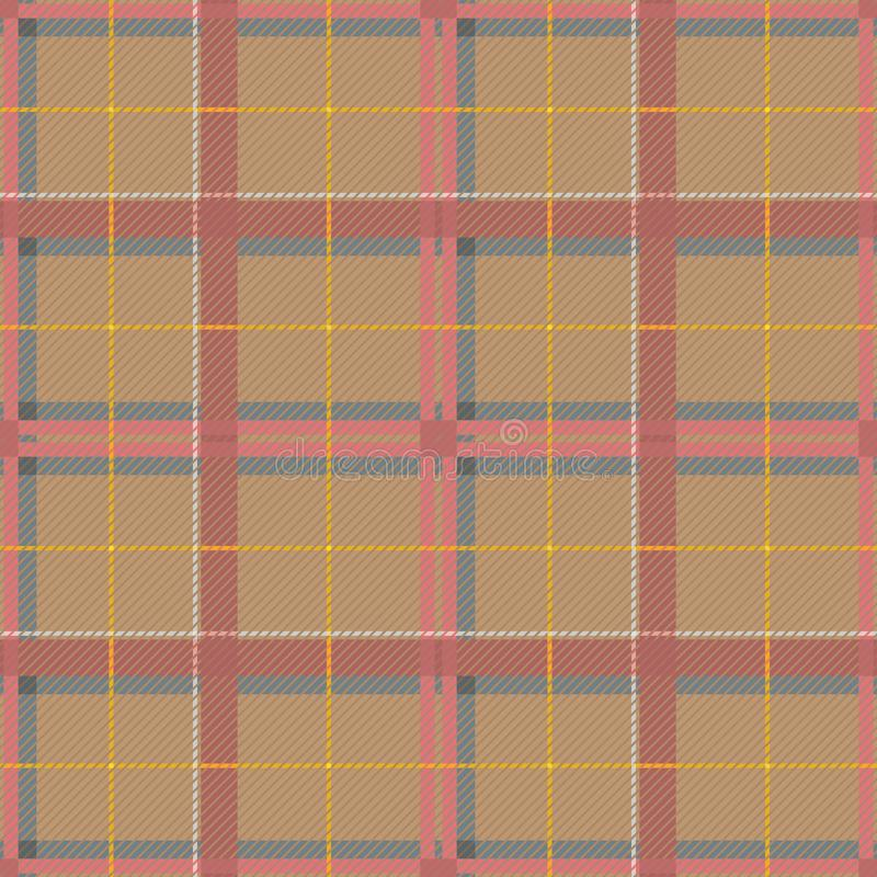 Scottish Tartan Checkered Seamless Pattern. Vector Repeat Background. Check fashion tweed beige and pink seamless pattern. Tartan repeat element for fashion vector illustration
