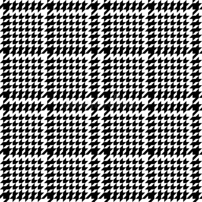Check Fashion Seamless Pattern with Hounds Tooth. Check fashion tweed white and black seamless pattern. Repeat background with houndstooth for fashion textile stock illustration