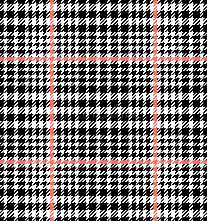 Check Fashion Seamless Pattern. Vector Repeat Background. Check fashion tweed white, coral and black seamless pattern for fashion textile prints, wallpaper stock illustration