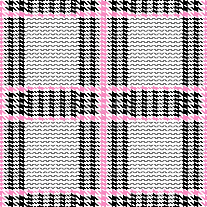 Check Fashion Seamless Pattern. Check fashion tweed white, pink and black seamless pattern for fashion textile prints, wallpaper, wrapping, fabric imitation and vector illustration