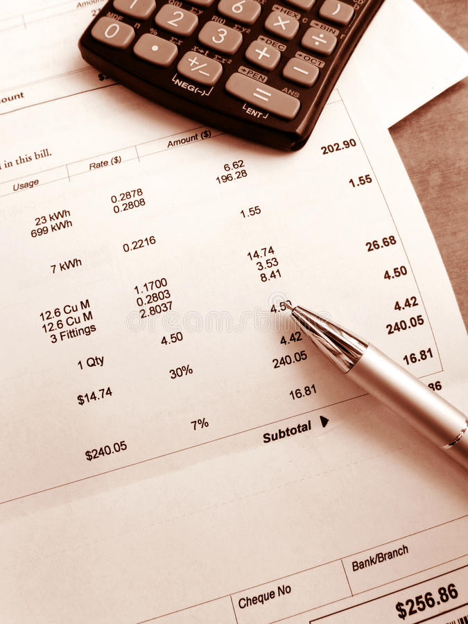 Free Check Household Utility Bill Royalty Free Stock Images - 30168489