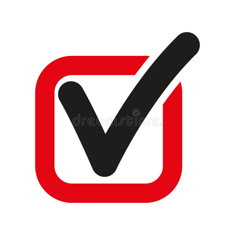The check icon. Checkmark and checkbox, yes, voting symbol. Flat. Vector illustration stock illustration