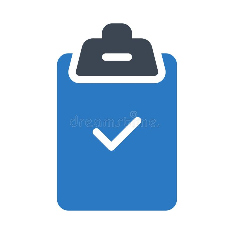 Check glyph colour vector  icon stock illustration
