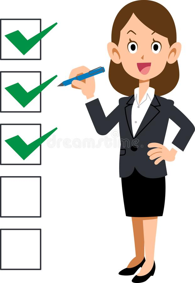 Check list Business woman smile royalty free illustration