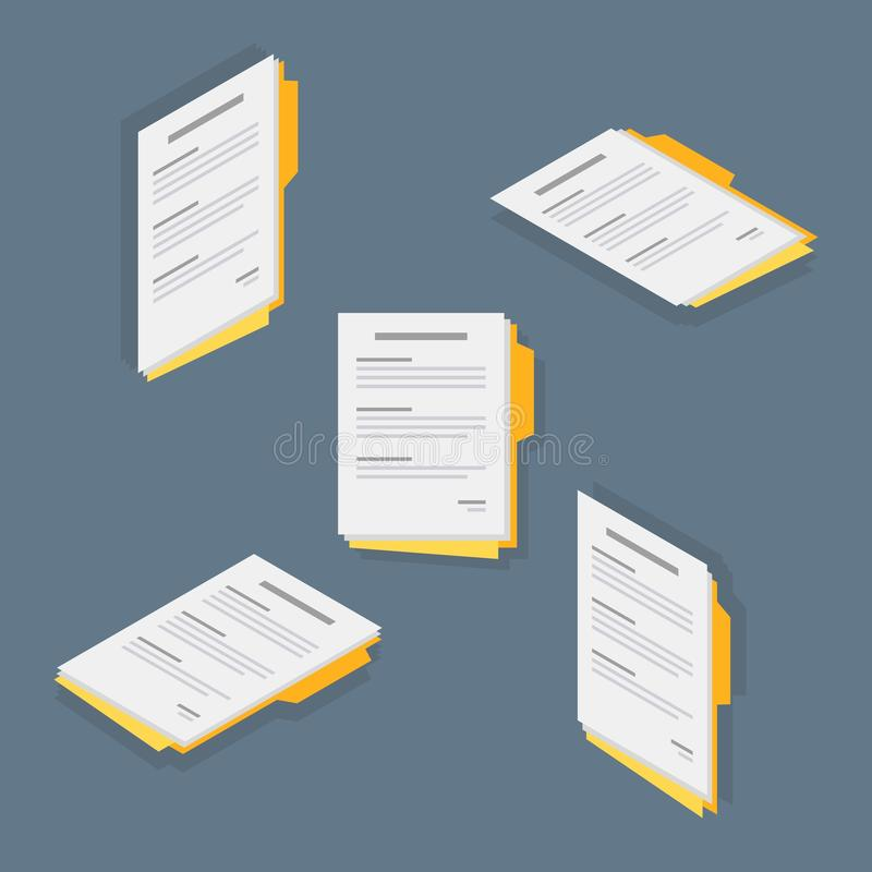 Document, Contract papers, Isometric, Flat icon royalty free illustration