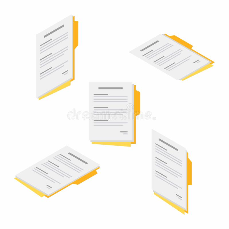 Document, Contract papers, Isometric, Flat icon. Document, Contract papers, Report, Agreement, Isometric, No background, Vector, Flat icon royalty free illustration
