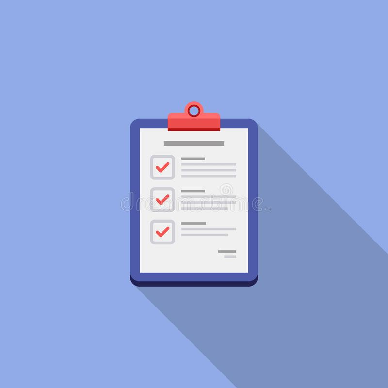 Check list, Clipboard, Document, Finance, Business, Isolated, illustration, Vector, Flat icon stock illustration