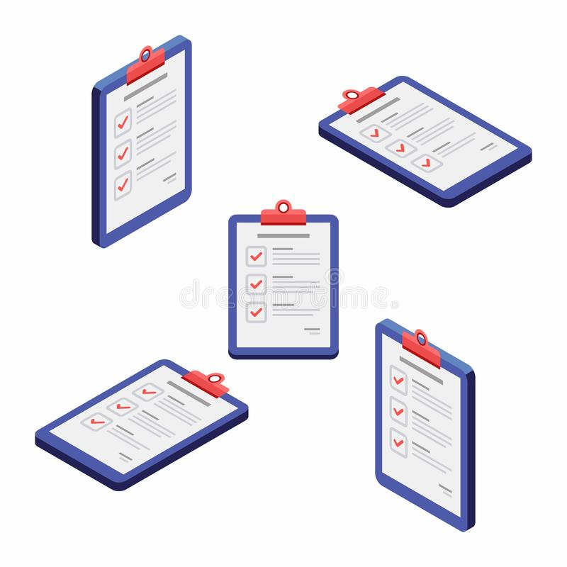 Check list, Clipboard, Document, Finance, Business, Isometric, No background, Isolated, illustration, Vector, Flat icon vector illustration