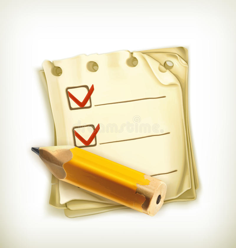 Check list, icon. Check list icon, computer illustration on white background royalty free illustration