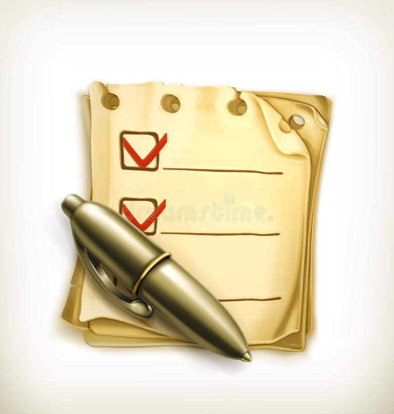 Check list icon. Computer illustration on white background royalty free illustration