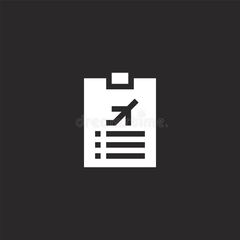 Check list icon. Filled check list icon for website design and mobile, app development. check list icon from filled aviation. Collection isolated on black royalty free illustration