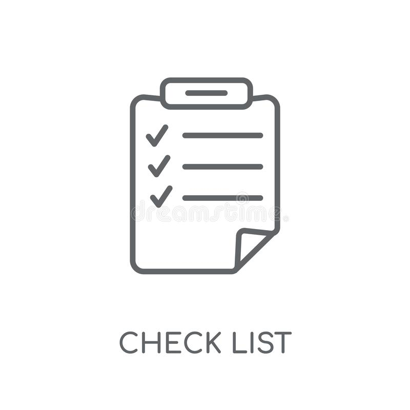 Check List linear icon. Modern outline Check List logo concept o royalty free illustration