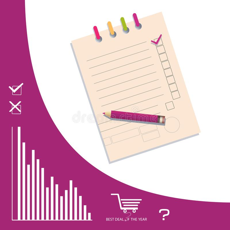 Check list with a pencil and line icons. vector illustration