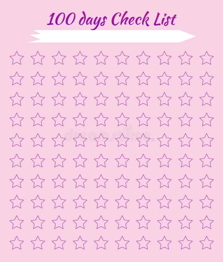 Check list. Stars for marks. Pink background. Scheduler. Tracker Habits. Check list. Habit for 100 days. Stars for marks. Pink background. Scheduler. Tracker vector illustration