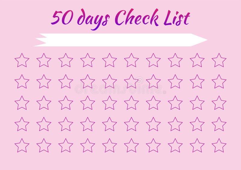 Check list. Stars for marks. Pink background. Scheduler. Tracker Habits. Check list. Habit for 50 days. Stars for marks. Pink background. Scheduler. Tracker stock illustration