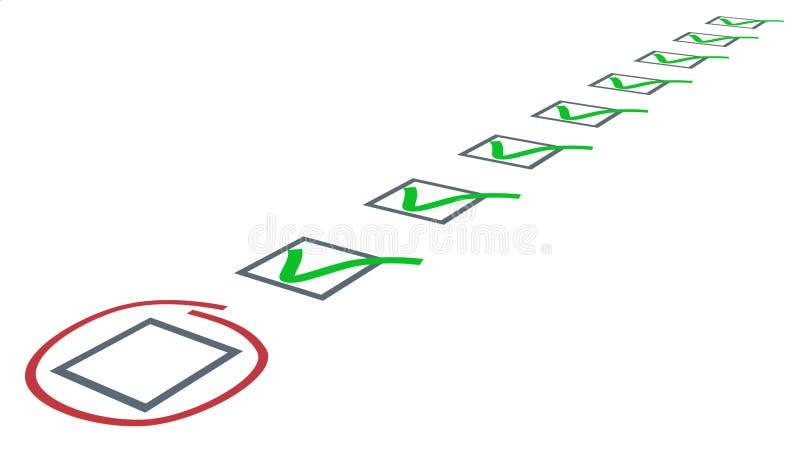 Check-Liste. Grün tickt in den Checkboxes stock abbildung