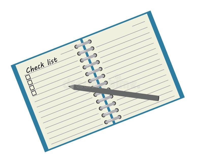 Check-Liste und Bleistift auf Papier lizenzfreie abbildung