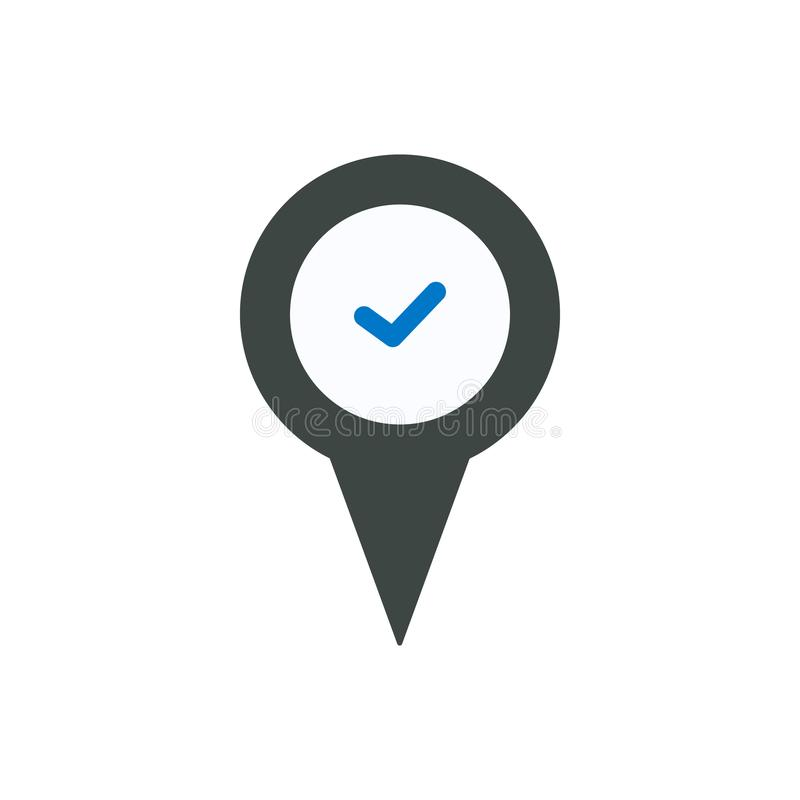Check location marker pin place right tick icon stock illustration