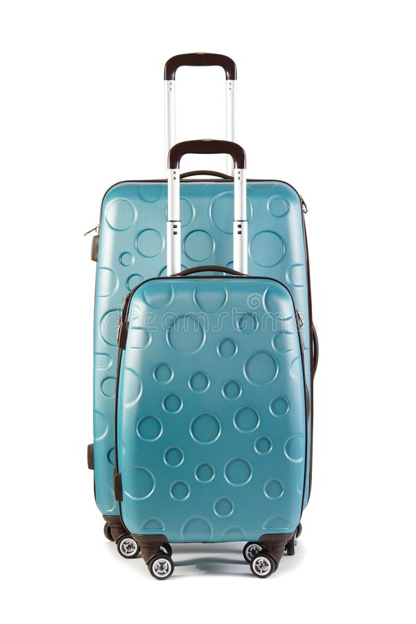 Check-in luggage and cabin bag. Isolated on white background. Two suitcases. Studio shot stock images