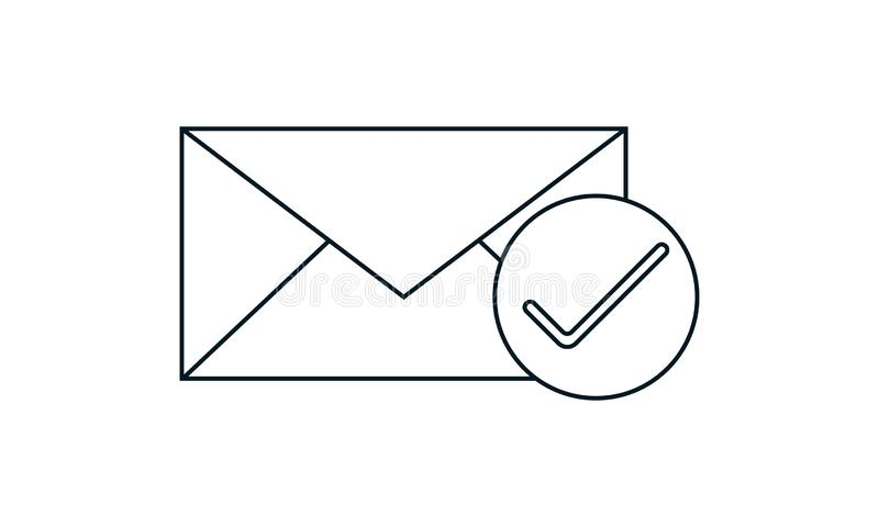 Check mail icon vector image. Check mail  icon  vector illustration. Flat style graphical symbol. can be used for web and mobile apps stock illustration