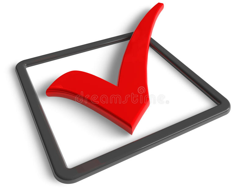 Check mark. Big red check mark isolated over white background vector illustration