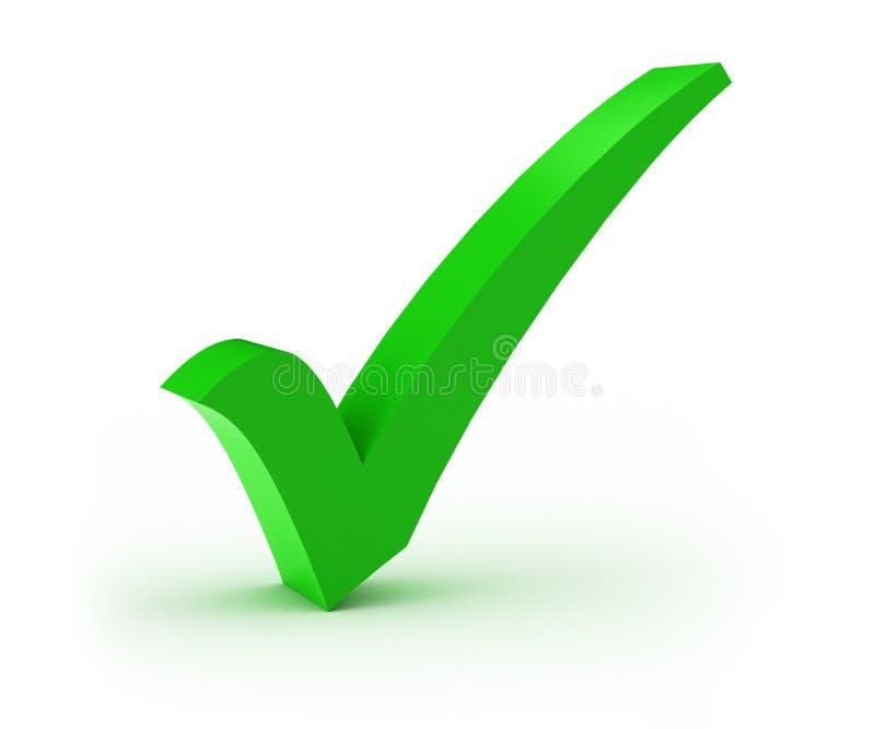 Check Mark. Green check mark over white background stock illustration