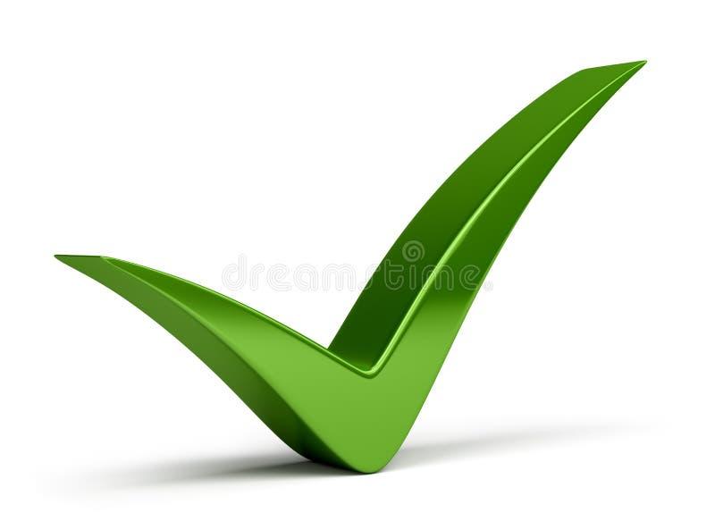 Check mark. Green check mark. 3d image. White background vector illustration