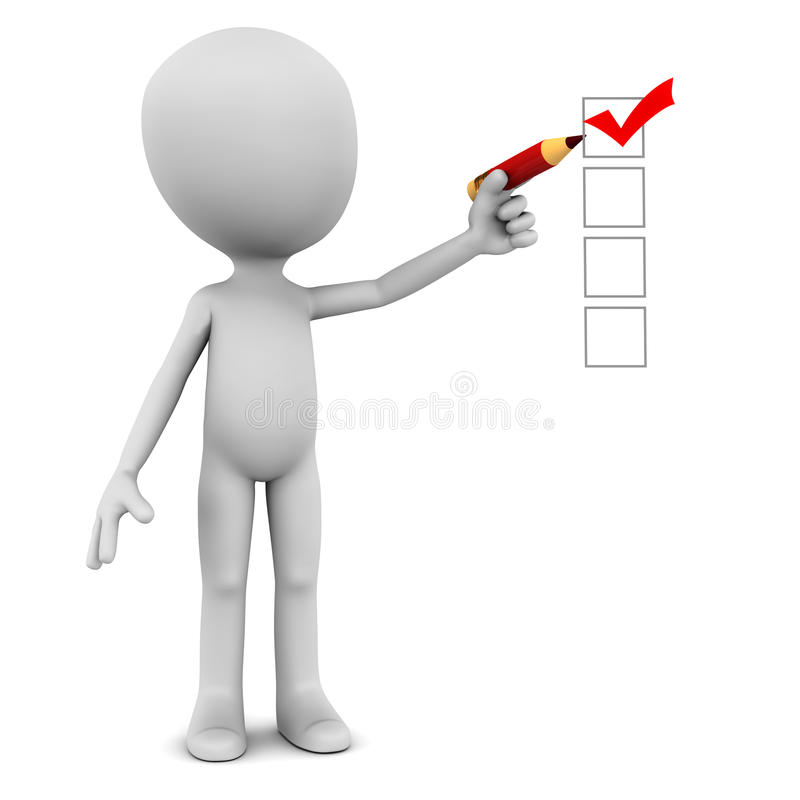 Check mark. 3d man making a red check mark on white background with a red pencil, checklist or survey concept stock illustration