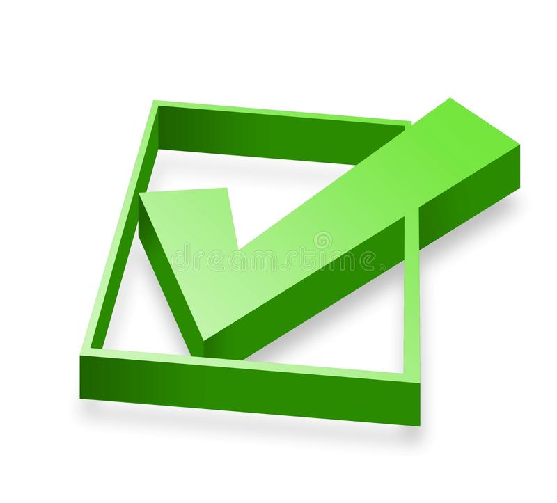 Check mark in 3D. Green check mark in 3D isolated over white vector illustration