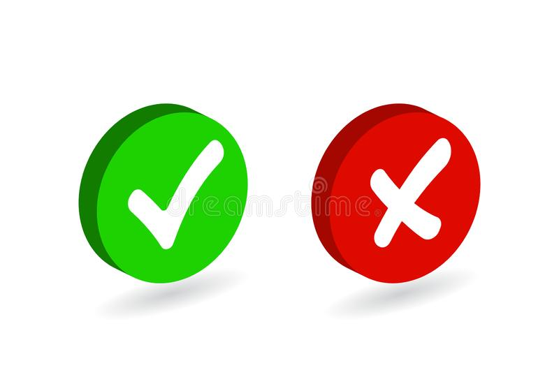 Check mark button icon set. Green tick and red cross flat simbol. Check ok, YES or no, X marks for vote, decision, web.Correct and royalty free illustration