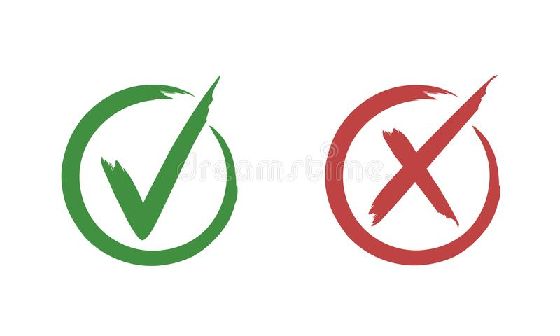 Check mark. Buttons for vote. Isolated vector illustration on white background vector illustration