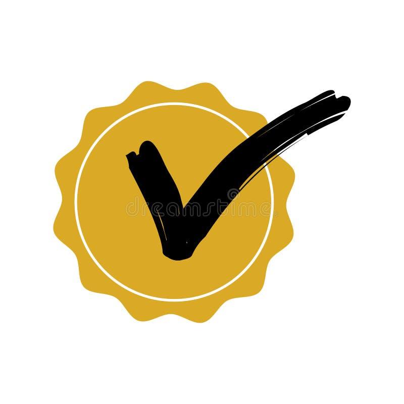 Check mark circle badge yellow color. royalty free illustration