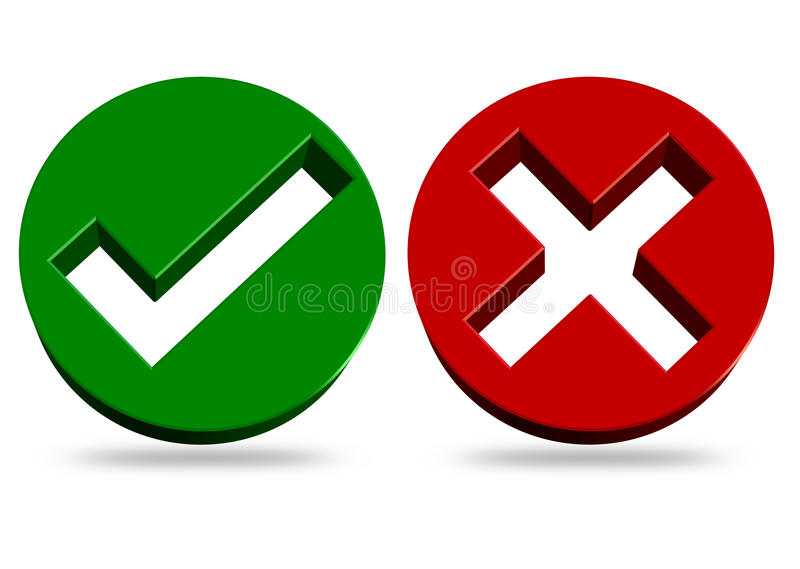 Check mark and cross icons. Rendering illustration of check mark and cross vector illustration