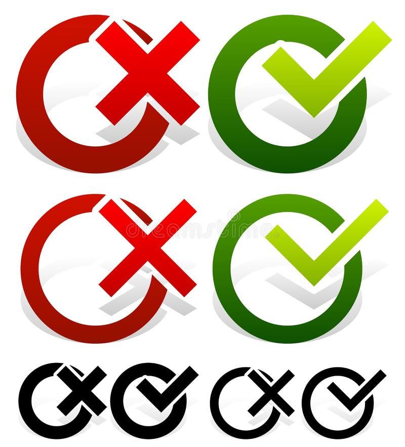 Check mark and Cross Set. Eps 10 Vector Illustration of a Check mark and Cross Set stock illustration