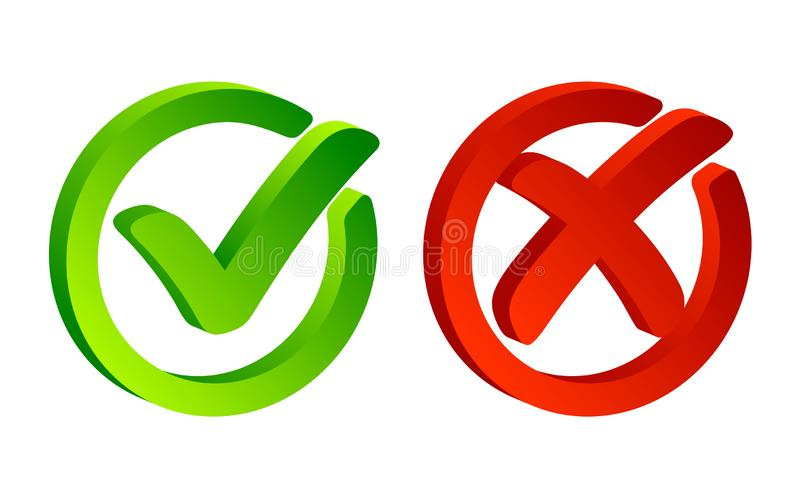 Check mark. Green tick symbol and red cross sign in circle. Icons for evaluation quiz. Vector. royalty free illustration
