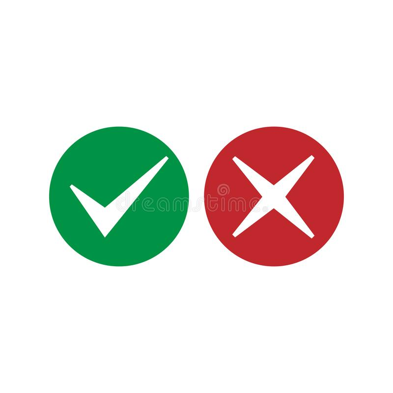 Check mark icon. Accept or decline icon Vector illustration, flat design. Check mark icon. Accept or decline icon Vector illustration, flat vector illustration
